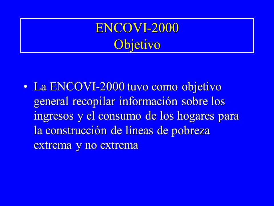 ENCOVI-2000 Objetivo La ENCOVI-2000 tuvo como objetivo general recopilar información sobre los ingresos y el consumo de los hogares para la construcci