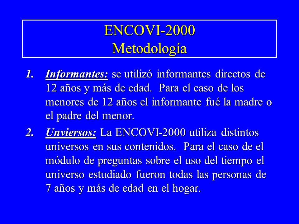 ENCOVI-2000 Metodología 1.Informantes: se utilizó informantes directos de 12 años y más de edad. Para el caso de los menores de 12 años el informante