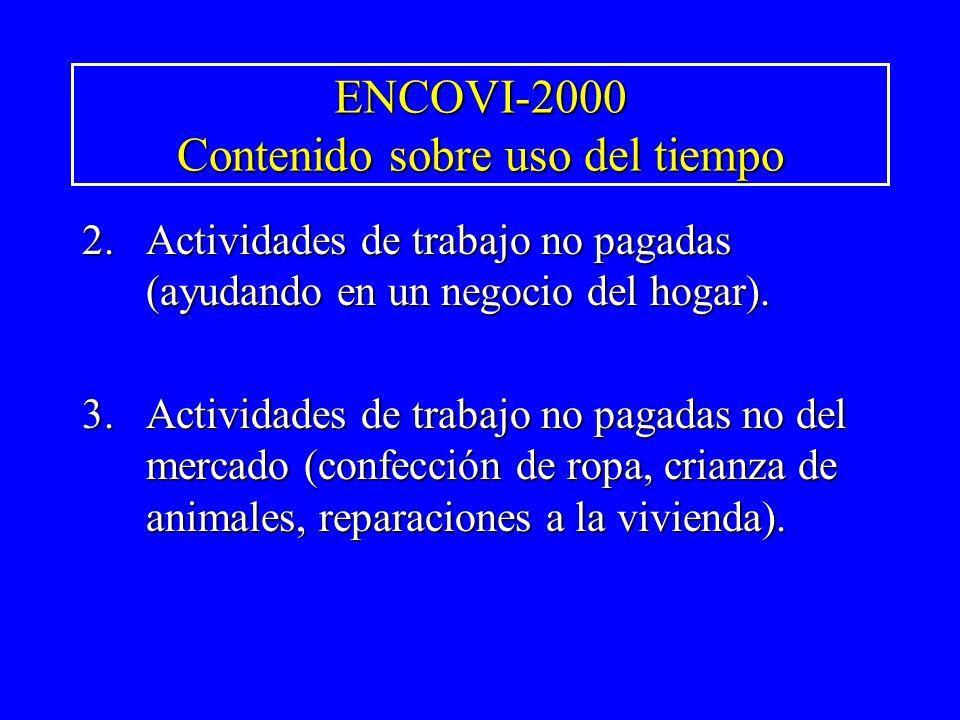 ENCOVI-2000 Contenido sobre uso del tiempo 2.Actividades de trabajo no pagadas (ayudando en un negocio del hogar). 3.Actividades de trabajo no pagadas
