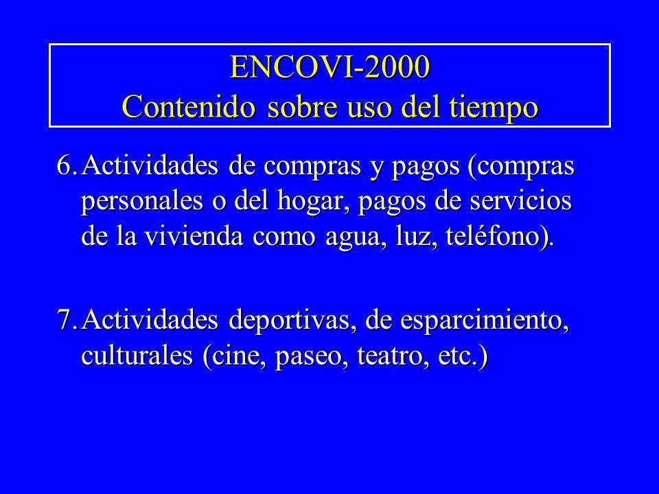 ENCOVI-2000 Contenido sobre uso del tiempo 6.Actividades de compras y pagos (compras personales o del hogar, pagos de servicios de la vivienda como ag