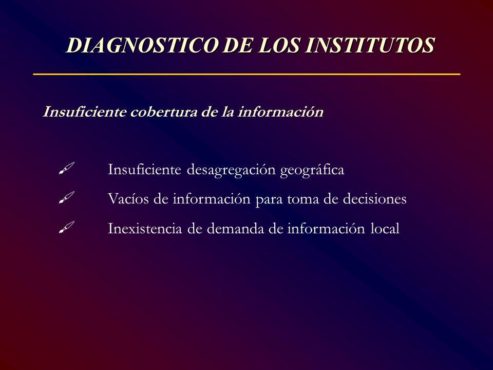 Insuficiente cobertura de la información Insuficiente desagregación geográfica Vacíos de información para toma de decisiones Inexistencia de demanda d