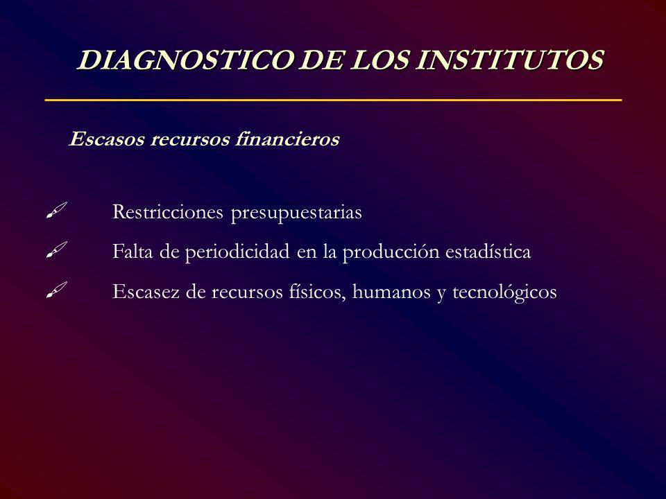 Escasos recursos financieros Restricciones presupuestarias Falta de periodicidad en la producciónestadística Escasez de recursos físicos, humanos y te