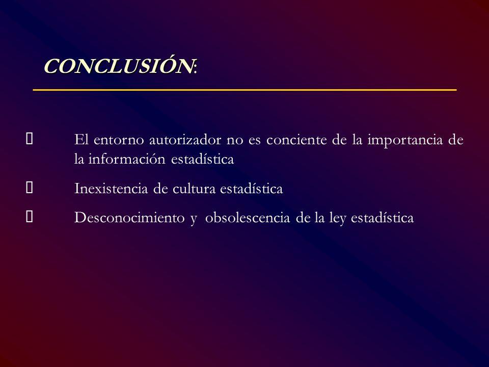 CONCLUSIÓN CONCLUSIÓN: El entorno autorizador no es conciente de la importancia de la información estadística Inexistencia de cultura estadística Desc