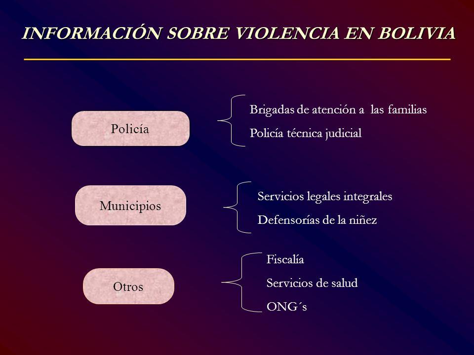 INFORMACIÓN SOBRE VIOLENCIA EN BOLIVIA Policía Municipios Otros Brigadas de atención a las familias Policía técnica judicial Servicios legales integra