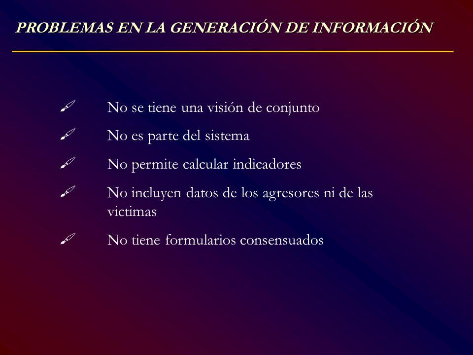 PROBLEMAS EN LA GENERACIÓN DE INFORMACIÓN No se tiene una visión de conjunto No es parte del sistema No permite calcular indicadores No incluyen datos