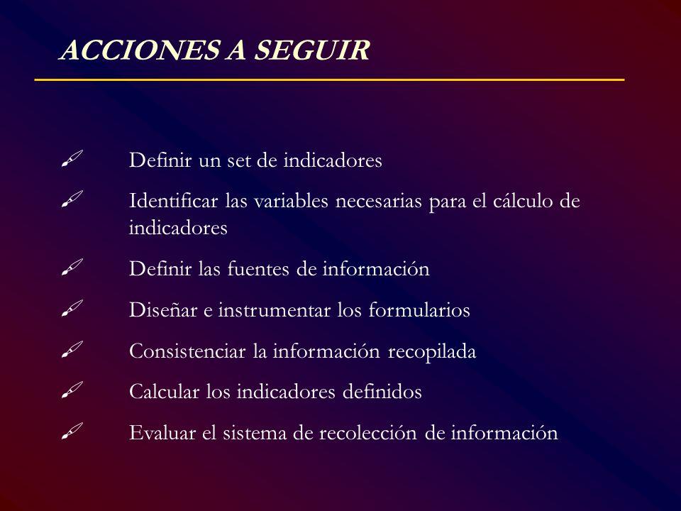 ACCIONES A SEGUIR Definir un set de indicadores Identificar las variables necesarias para el cálculo de indicadores Definir las fuentes de información
