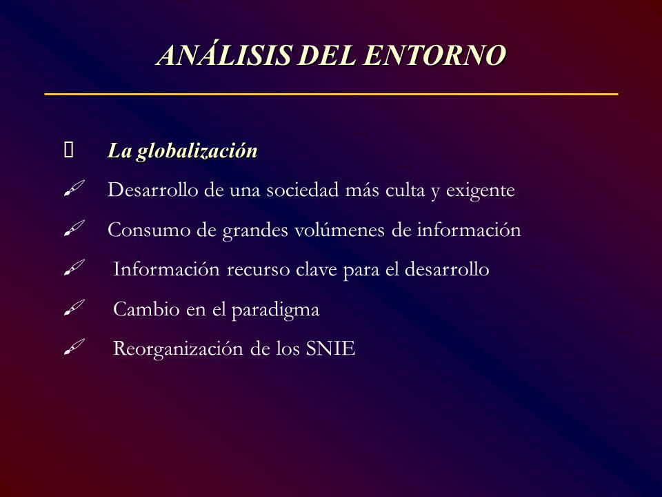 ANÁLISIS DEL ENTORNO La globalización Desarrollo de una sociedad más culta y exigente Consumo de grandes volúmenes de información Información recurso