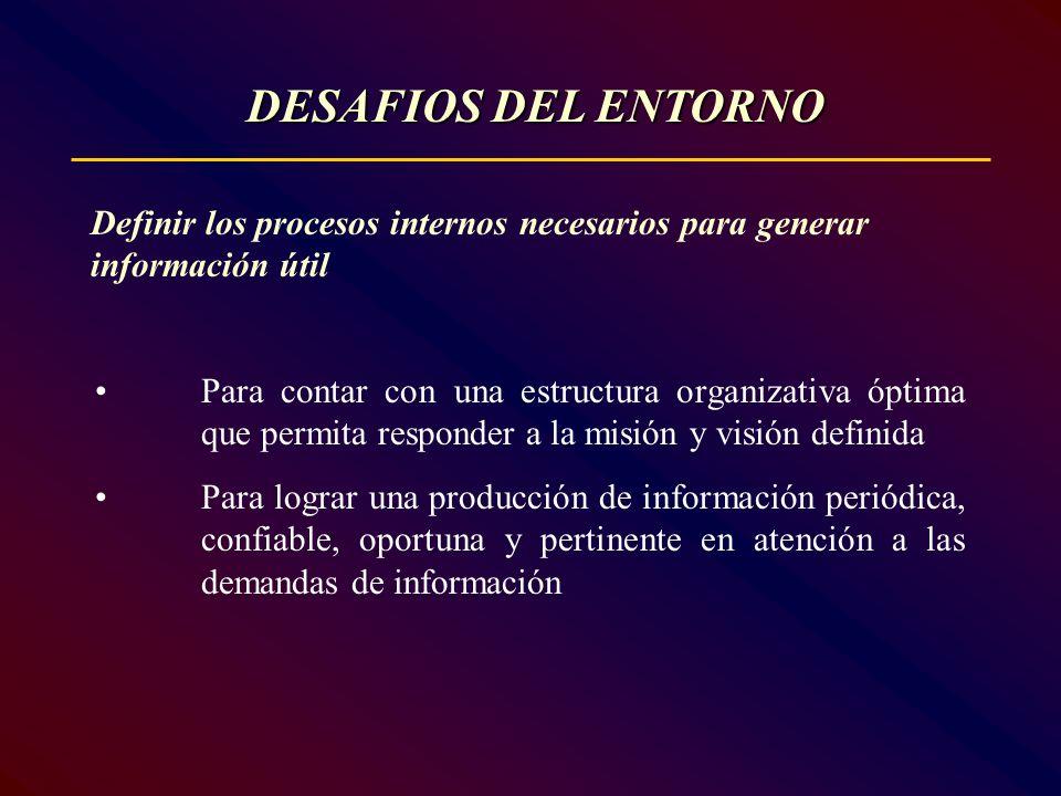 Definir los procesos internos necesarios para generar información útil Para contar con una estructura organizativa óptima que permita responder a la m