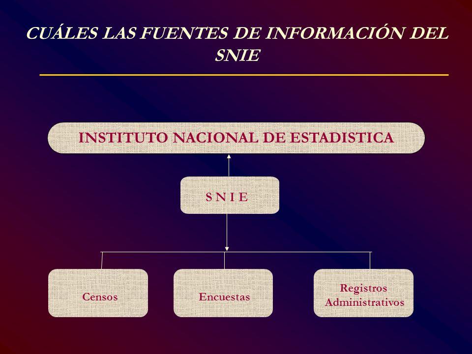 CUÁLES LAS FUENTES DE INFORMACIÓN DEL SNIE S N I E Registros Administrativos EncuestasCensos INSTITUTO NACIONAL DE ESTADISTICA