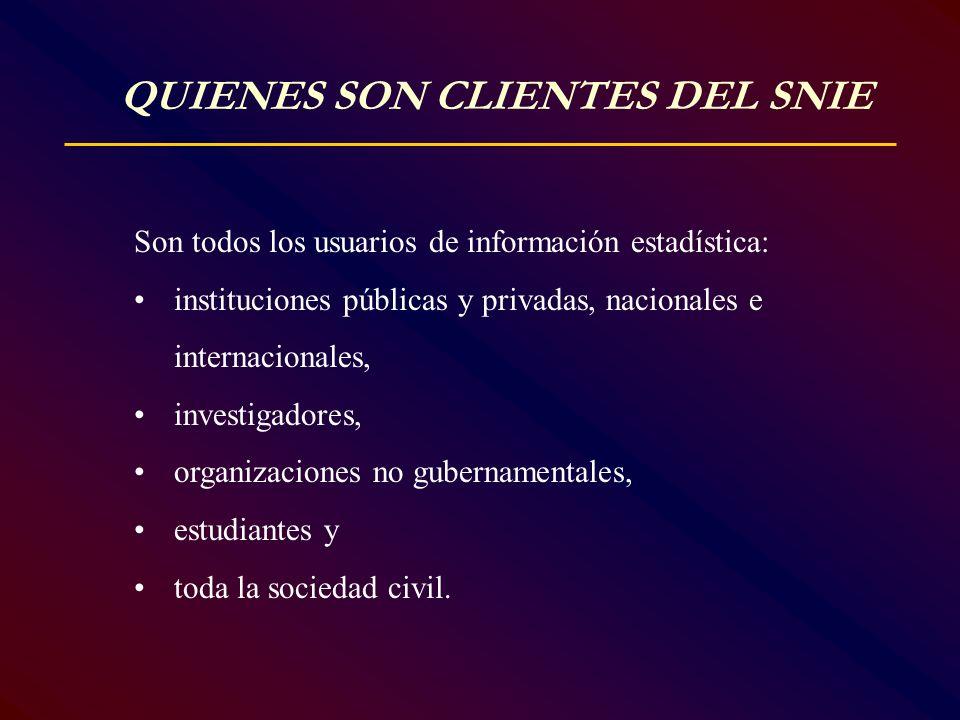 QUIENES SON CLIENTES DEL SNIE Son todos los usuarios de información estadística: instituciones públicas y privadas, nacionales e internacionales, inve