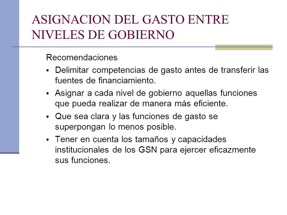 ASIGNACION DEL GASTO ENTRE NIVELES DE GOBIERNO Recomendaciones Delimitar competencias de gasto antes de transferir las fuentes de financiamiento. Asig