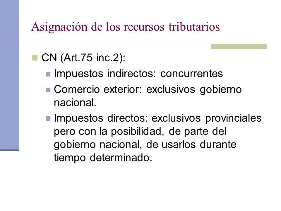 Asignación de los recursos tributarios CN (Art.75 inc.2): Impuestos indirectos: concurrentes Comercio exterior: exclusivos gobierno nacional. Impuesto