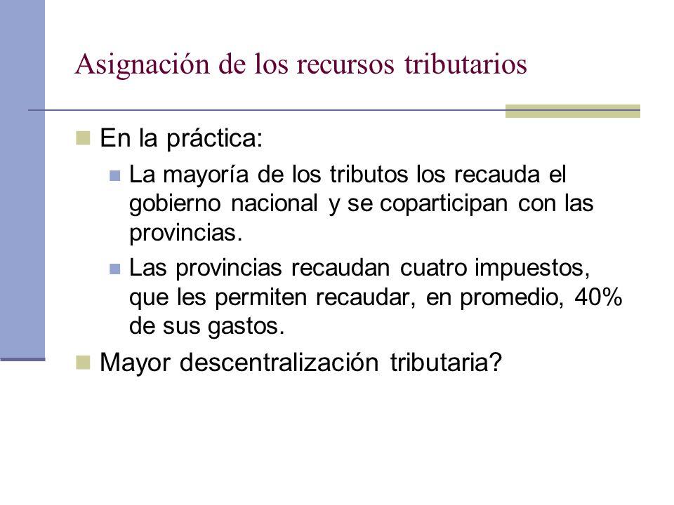 Asignación de los recursos tributarios En la práctica: La mayoría de los tributos los recauda el gobierno nacional y se coparticipan con las provincia