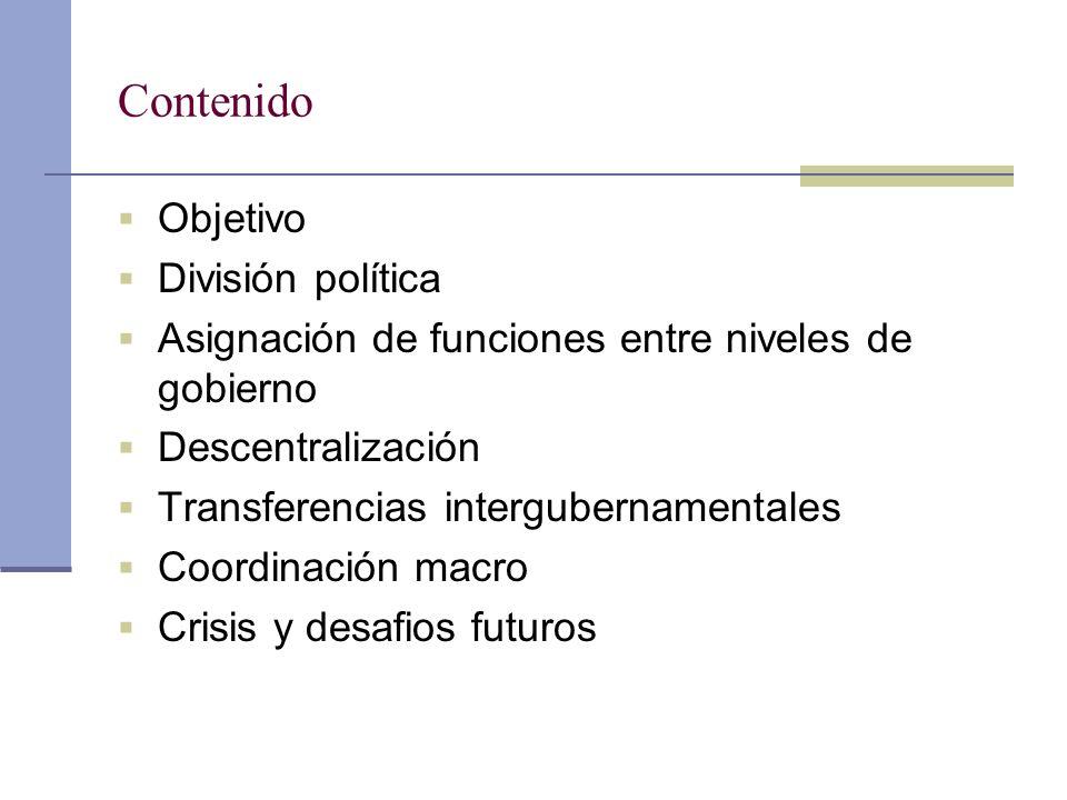 Contenido Objetivo División política Asignación de funciones entre niveles de gobierno Descentralización Transferencias intergubernamentales Coordinac