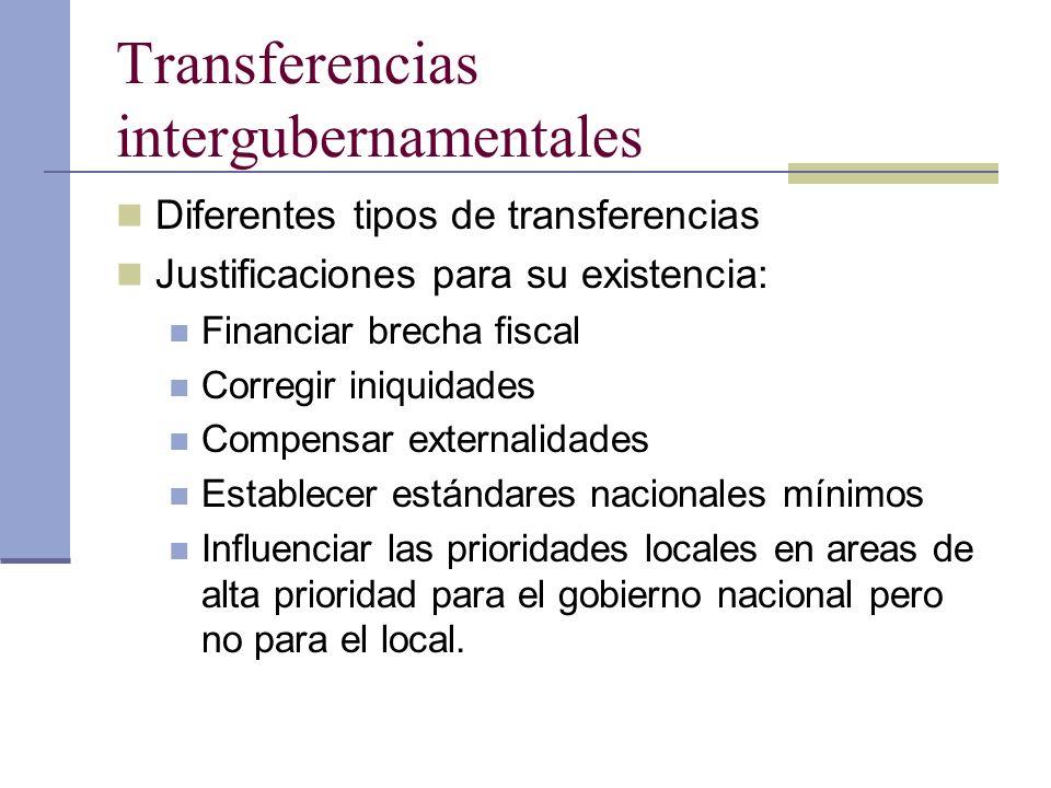 Transferencias intergubernamentales Diferentes tipos de transferencias Justificaciones para su existencia: Financiar brecha fiscal Corregir iniquidade