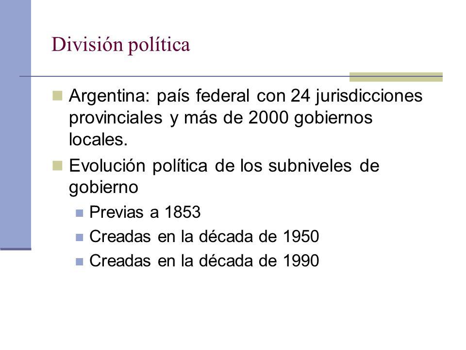 División política Argentina: país federal con 24 jurisdicciones provinciales y más de 2000 gobiernos locales. Evolución política de los subniveles de