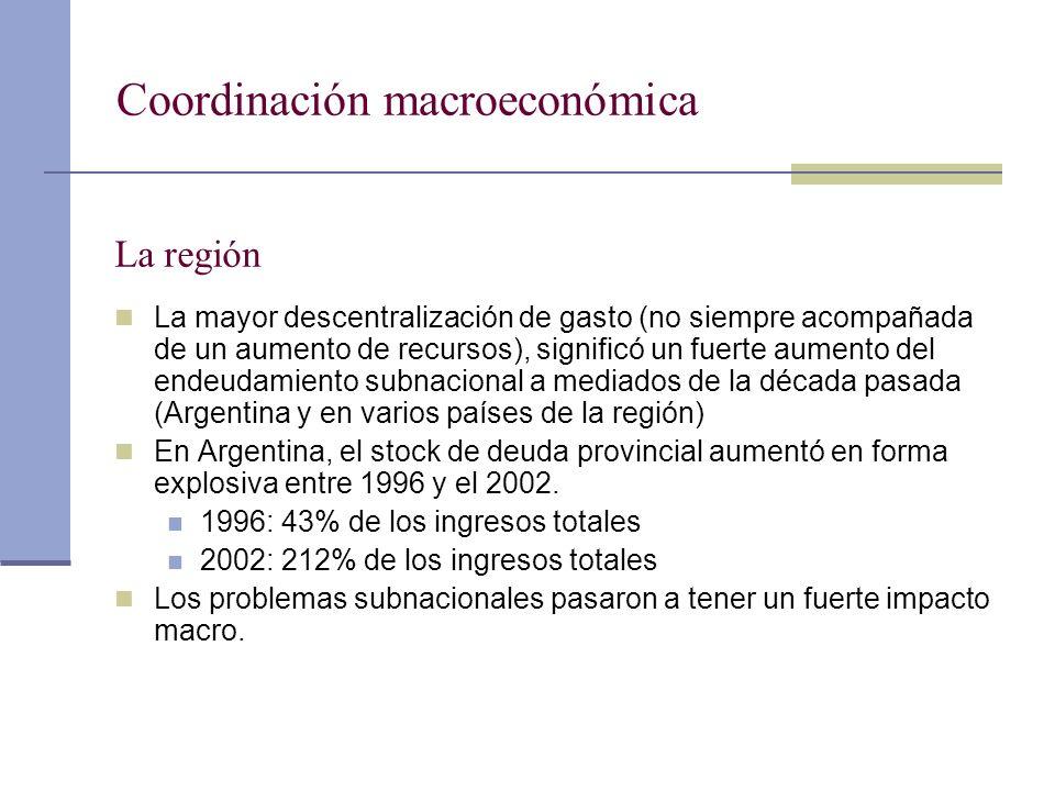 Coordinación macroeconómica La región La mayor descentralización de gasto (no siempre acompañada de un aumento de recursos), significó un fuerte aumen