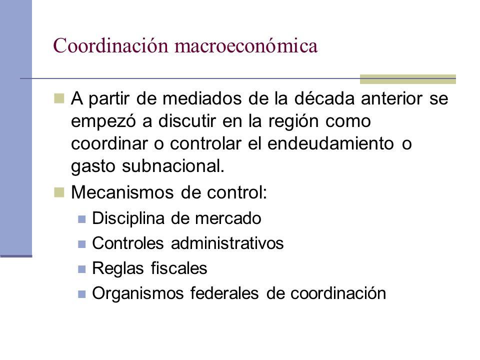 Coordinación macroeconómica A partir de mediados de la década anterior se empezó a discutir en la región como coordinar o controlar el endeudamiento o