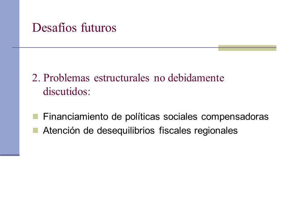 Desafíos futuros 2. Problemas estructurales no debidamente discutidos: Financiamiento de políticas sociales compensadoras Atención de desequilibrios f