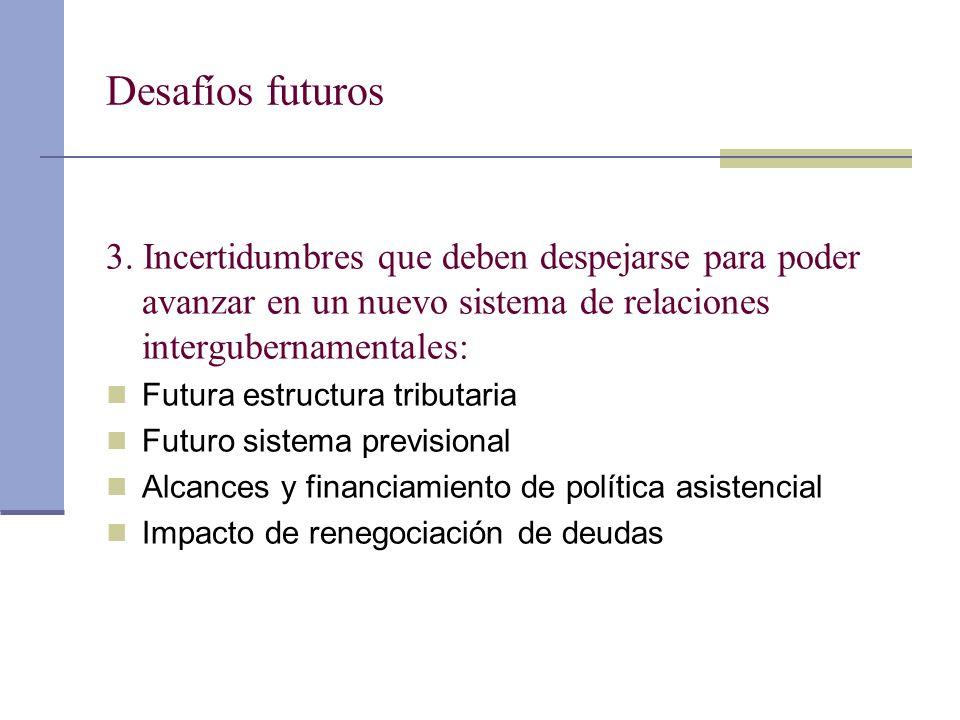 Desafíos futuros 3. Incertidumbres que deben despejarse para poder avanzar en un nuevo sistema de relaciones intergubernamentales: Futura estructura t