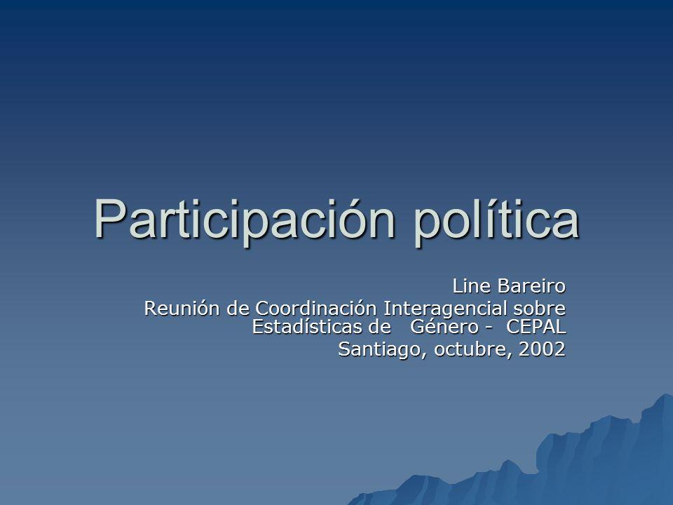 Participación política Line Bareiro Reunión de Coordinación Interagencial sobre Estadísticas de Género - CEPAL Santiago, octubre, 2002