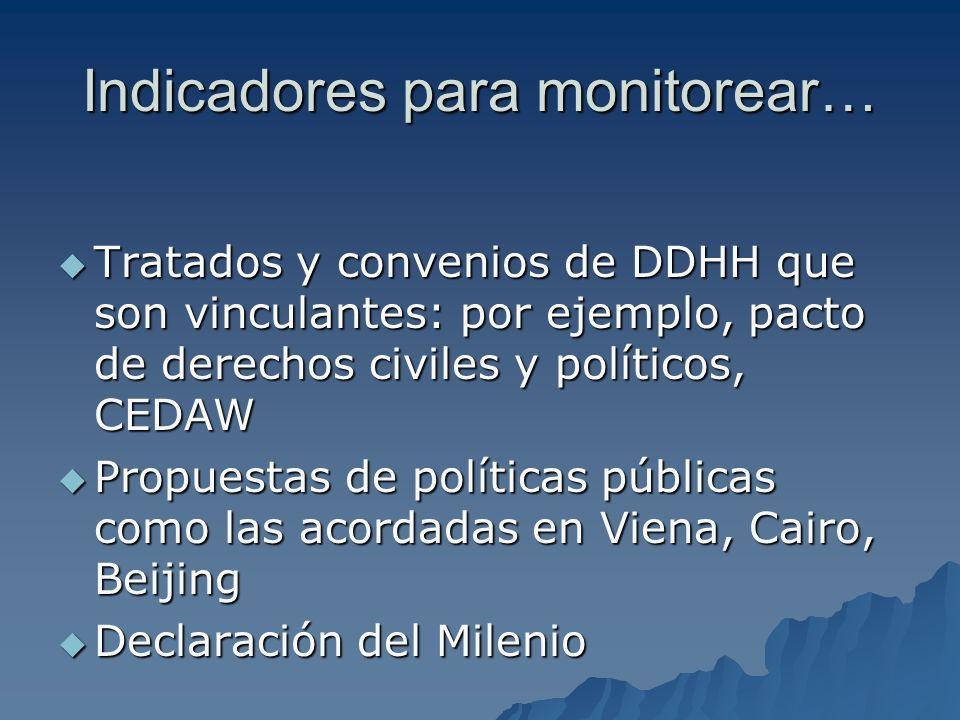Indicadores para monitorear… Tratados y convenios de DDHH que son vinculantes: por ejemplo, pacto de derechos civiles y políticos, CEDAW Tratados y co