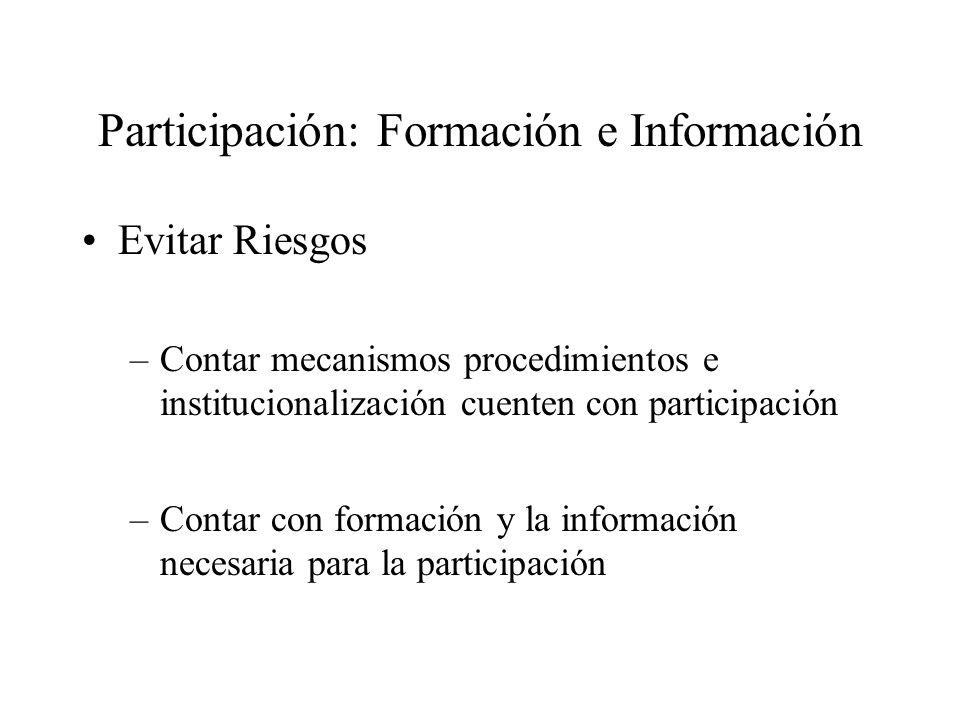 Participación: Formación e Información Evitar Riesgos –Contar mecanismos procedimientos e institucionalización cuenten con participación –Contar con formación y la información necesaria para la participación