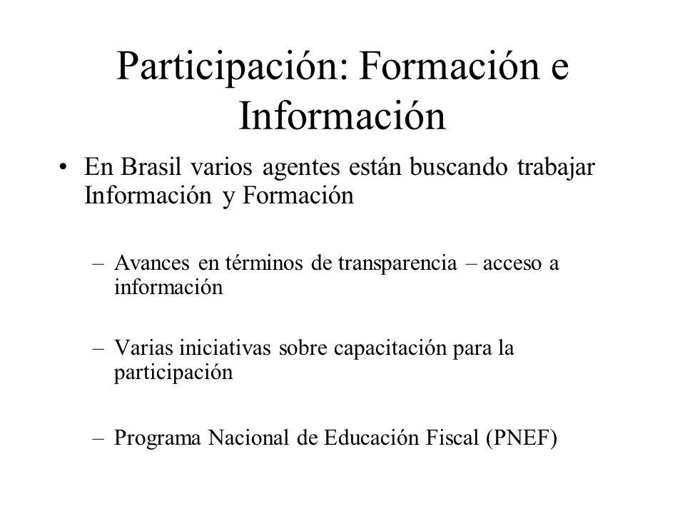 Participación: Formación e Información En Brasil varios agentes están buscando trabajar Información y Formación –Avances en términos de transparencia – acceso a información –Varias iniciativas sobre capacitación para la participación –Programa Nacional de Educación Fiscal (PNEF)