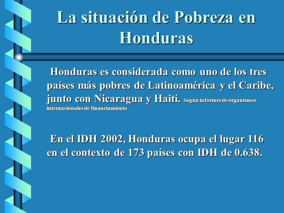 La situación de Pobreza en Honduras Honduras es considerada como uno de los tres países más pobres de Latinoamérica y el Caribe, junto con Nicaragua y