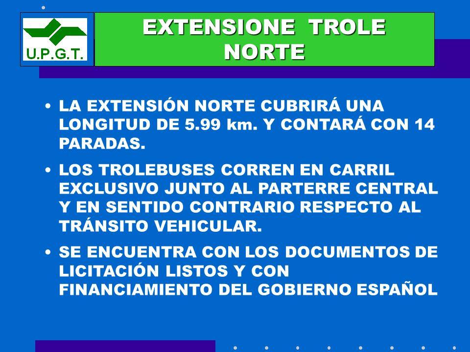 EXTENSIONES EXTENSIONE TROLE NORTE LA EXTENSIÓN NORTE CUBRIRÁ UNA LONGITUD DE 5.99 km. Y CONTARÁ CON 14 PARADAS. LOS TROLEBUSES CORREN EN CARRIL EXCLU