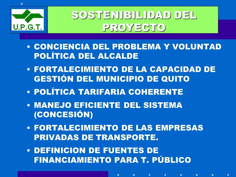 CONCIENCIA DEL PROBLEMA Y VOLUNTAD POLÍTICA DEL ALCALDE FORTALECIMIENTO DE LA CAPACIDAD DE GESTIÓN DEL MUNICIPIO DE QUITO POLÍTICA TARIFARIA COHERENTE