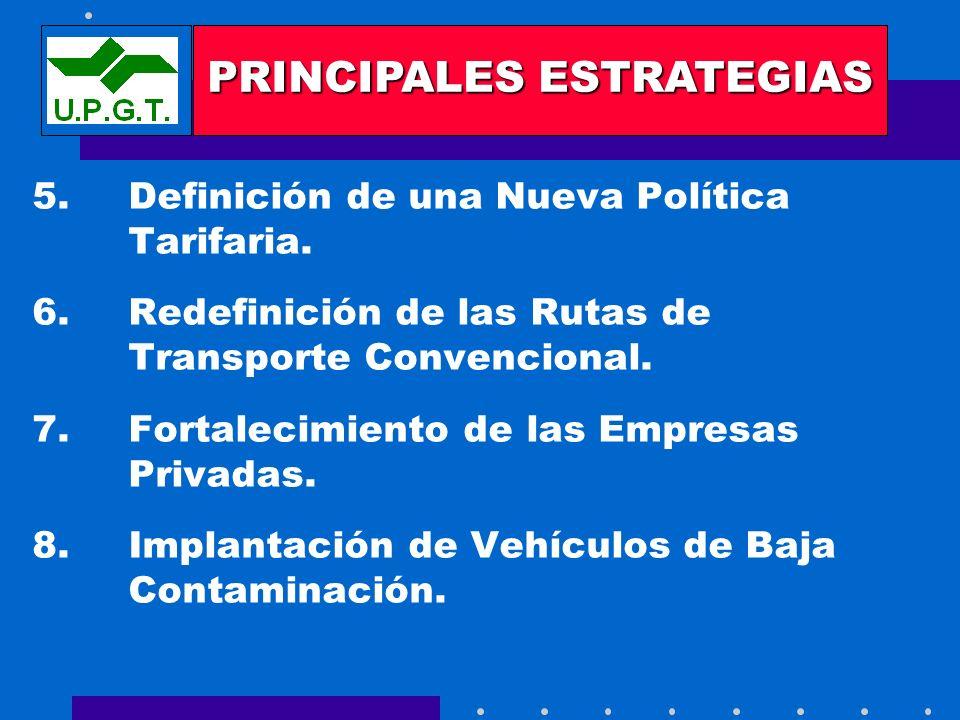 5. Definición de una Nueva Política Tarifaria. 6.Redefinición de las Rutas de Transporte Convencional. 7.Fortalecimiento de las Empresas Privadas. 8.I