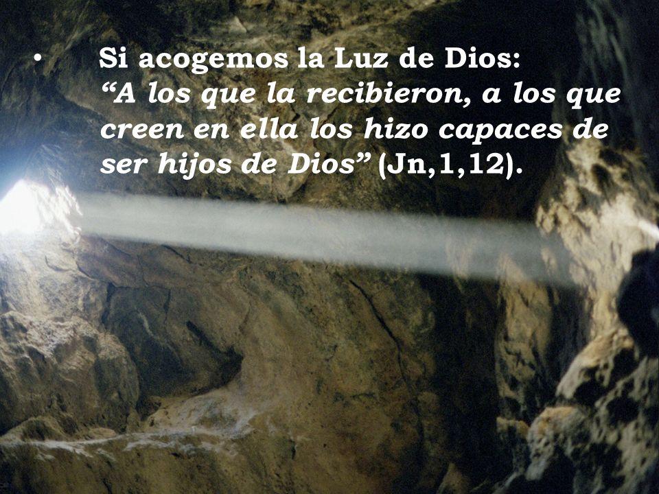 Si acogemos la Luz de Dios: A los que la recibieron, a los que creen en ella los hizo capaces de ser hijos de Dios (Jn,1,12).