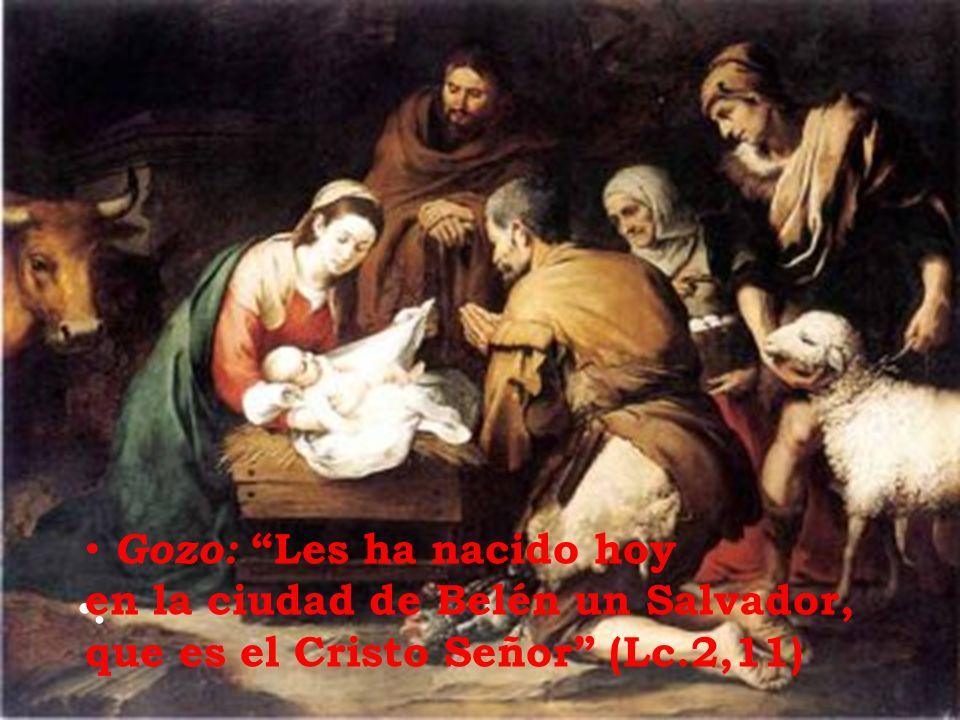 . Gozo: Les ha nacido hoy en la ciudad de Belén un Salvador, que es el Cristo Señor (Lc.2,11)