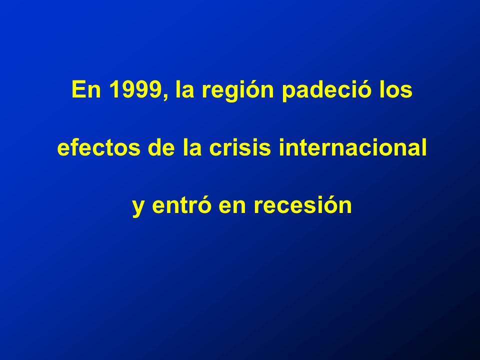 En 1999, la región padeció los efectos de la crisis internacional y entró en recesión