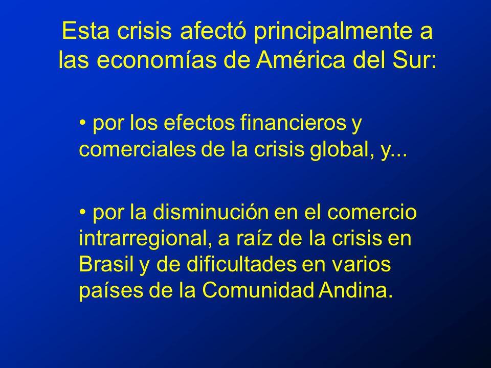 Esta crisis afectó principalmente a las economías de América del Sur: por los efectos financieros y comerciales de la crisis global, y...