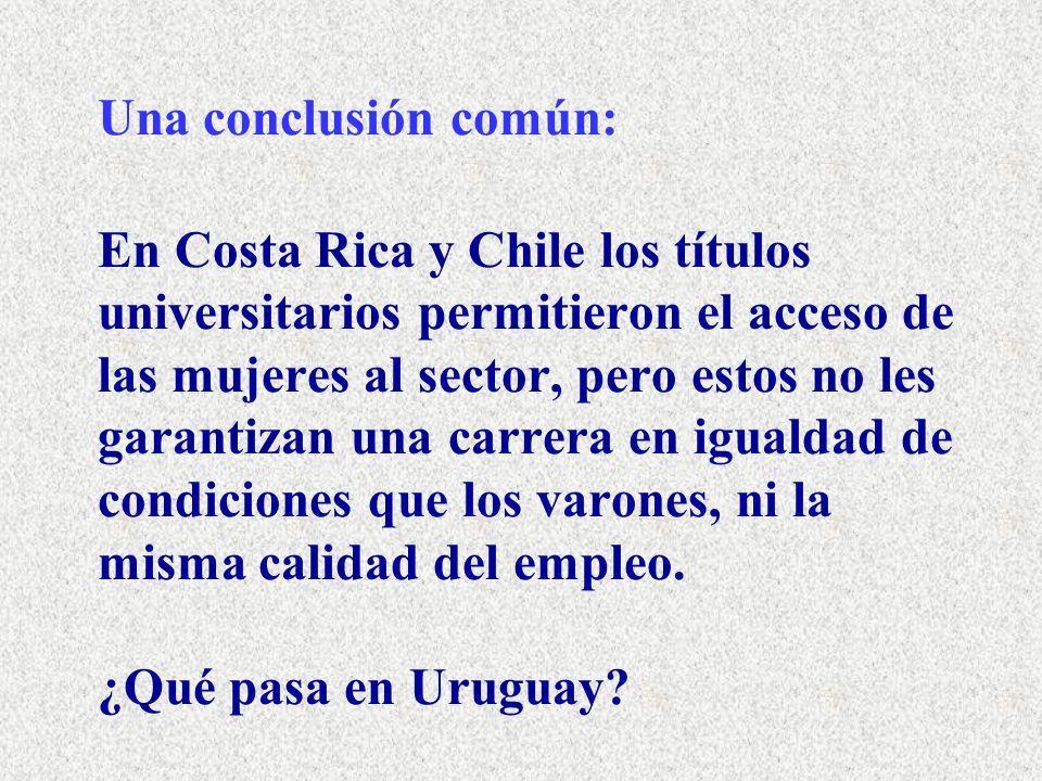 Una conclusión común: En Costa Rica y Chile los títulos universitarios permitieron el acceso de las mujeres al sector, pero estos no les garantizan una carrera en igualdad de condiciones que los varones, ni la misma calidad del empleo.