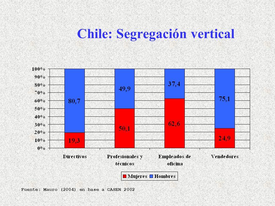 Chile: Segregación vertical Fuente: Mauro (2004) en base a CASEN 2002