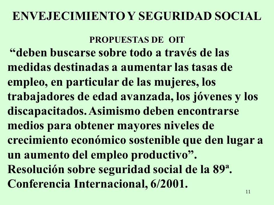 11 ENVEJECIMIENTO Y SEGURIDAD SOCIAL PROPUESTAS DE OIT deben buscarse sobre todo a través de las medidas destinadas a aumentar las tasas de empleo, en