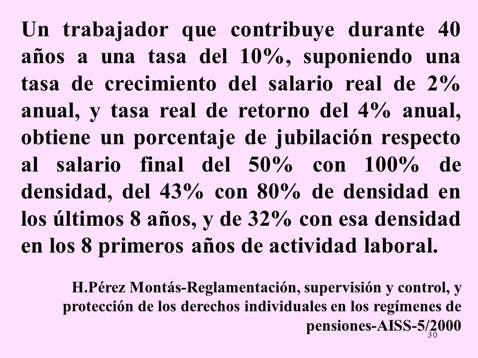 30 Un trabajador que contribuye durante 40 años a una tasa del 10%, suponiendo una tasa de crecimiento del salario real de 2% anual, y tasa real de re