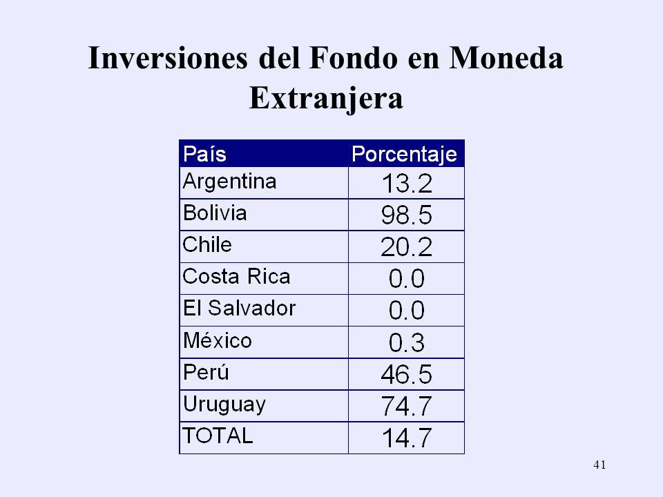 41 Inversiones del Fondo en Moneda Extranjera