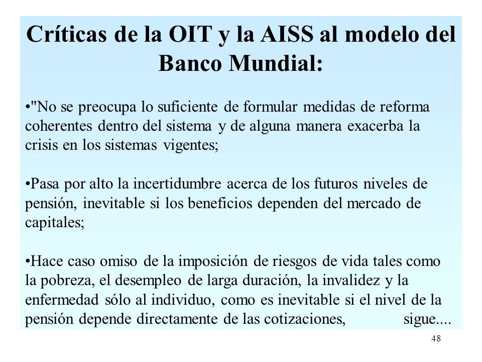 48 Críticas de la OIT y la AISS al modelo del Banco Mundial: