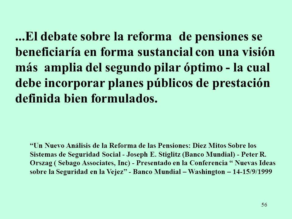 56...El debate sobre la reforma de pensiones se beneficiaría en forma sustancial con una visión más amplia del segundo pilar óptimo - la cual debe inc