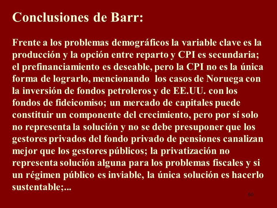60 Conclusiones de Barr: Frente a los problemas demográficos la variable clave es la producción y la opción entre reparto y CPI es secundaria; el pref