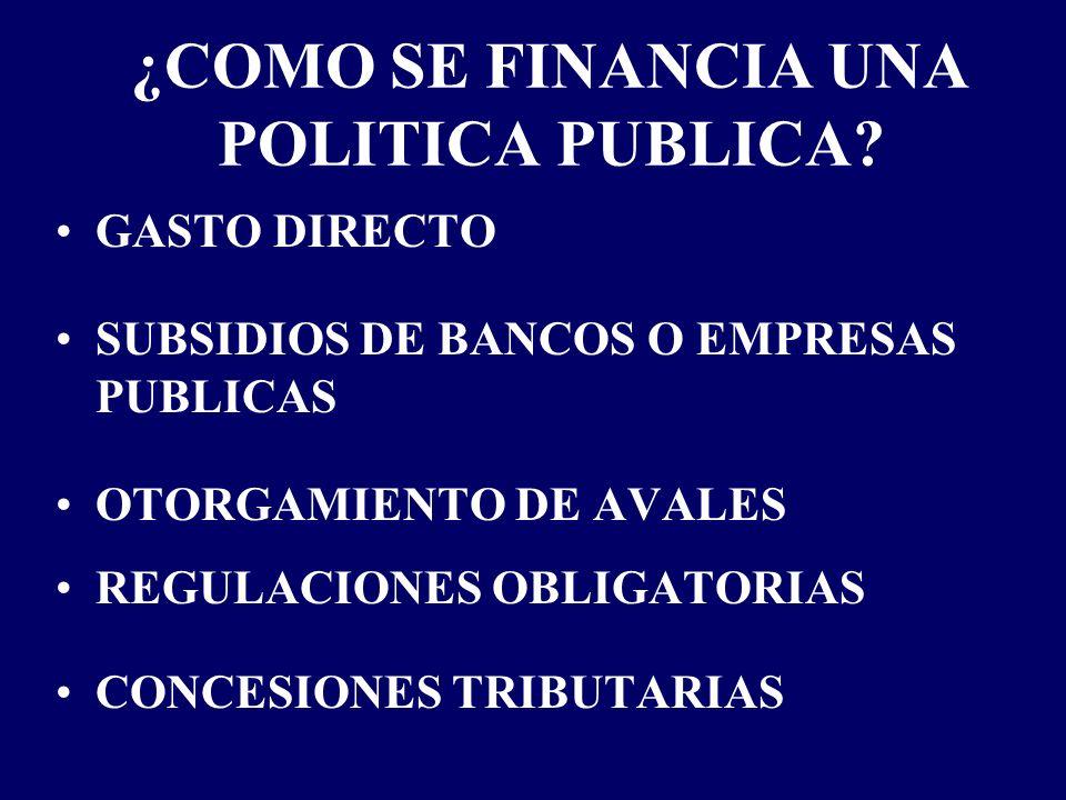 ¿COMO SE FINANCIA UNA POLITICA PUBLICA? GASTO DIRECTO SUBSIDIOS DE BANCOS O EMPRESAS PUBLICAS OTORGAMIENTO DE AVALES REGULACIONES OBLIGATORIAS CONCESI