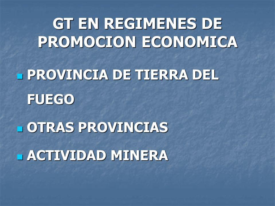 GT EN REGIMENES DE PROMOCION ECONOMICA PROVINCIA DE TIERRA DEL FUEGO PROVINCIA DE TIERRA DEL FUEGO OTRAS PROVINCIAS OTRAS PROVINCIAS ACTIVIDAD MINERA