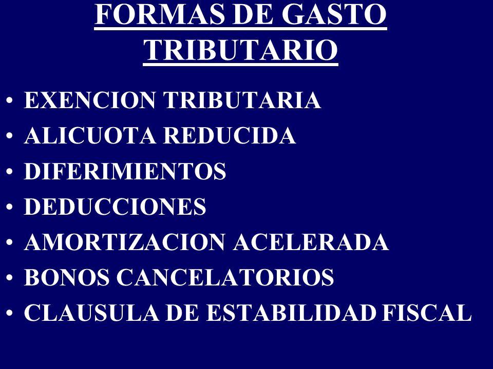 FORMAS DE GASTO TRIBUTARIO EXENCION TRIBUTARIA ALICUOTA REDUCIDA DIFERIMIENTOS DEDUCCIONES AMORTIZACION ACELERADA BONOS CANCELATORIOS CLAUSULA DE ESTA