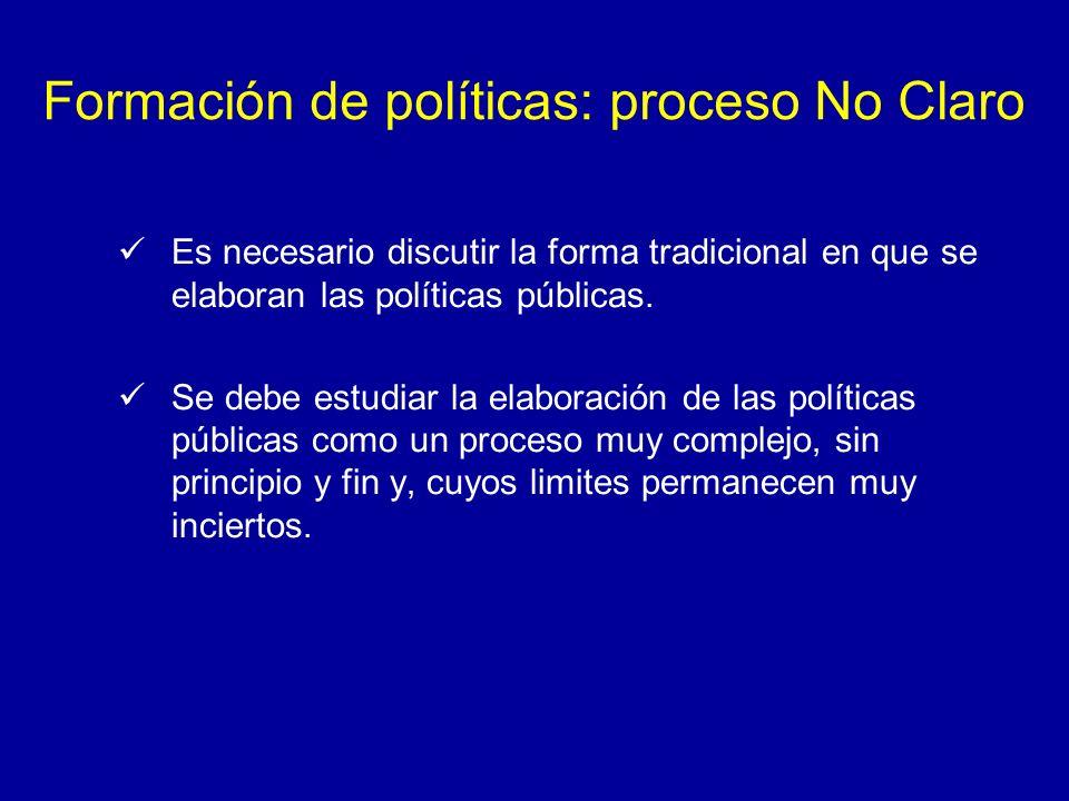 Formación de políticas: proceso No Claro Es necesario discutir la forma tradicional en que se elaboran las políticas públicas. Se debe estudiar la ela