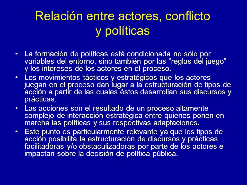 Relación entre actores, conflicto y políticas La formación de políticas está condicionada no sólo por variables del entorno, sino también por las regl
