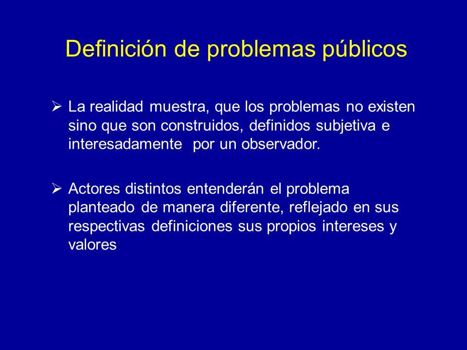 Definición de problemas públicos La realidad muestra, que los problemas no existen sino que son construidos, definidos subjetiva e interesadamente por
